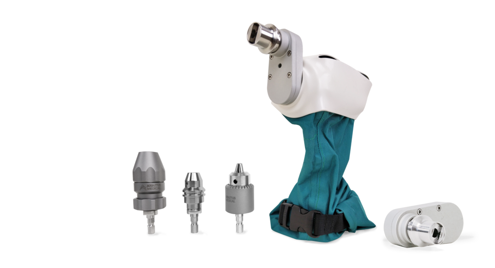 DrillCover PRO - The DrillCover PRO is Arbutus Medical's newest product, adding quick connect capabilities along with the ability to ream and work with k-wires.