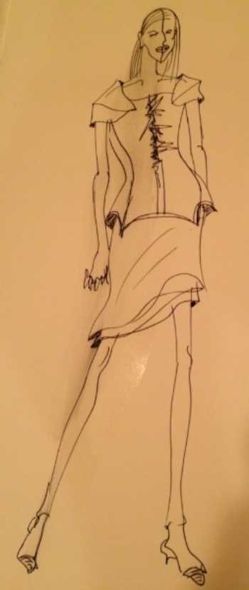 Sketch from the Katya Leonovich Spring 2015 3D collection courtesy of Katya Leonovich