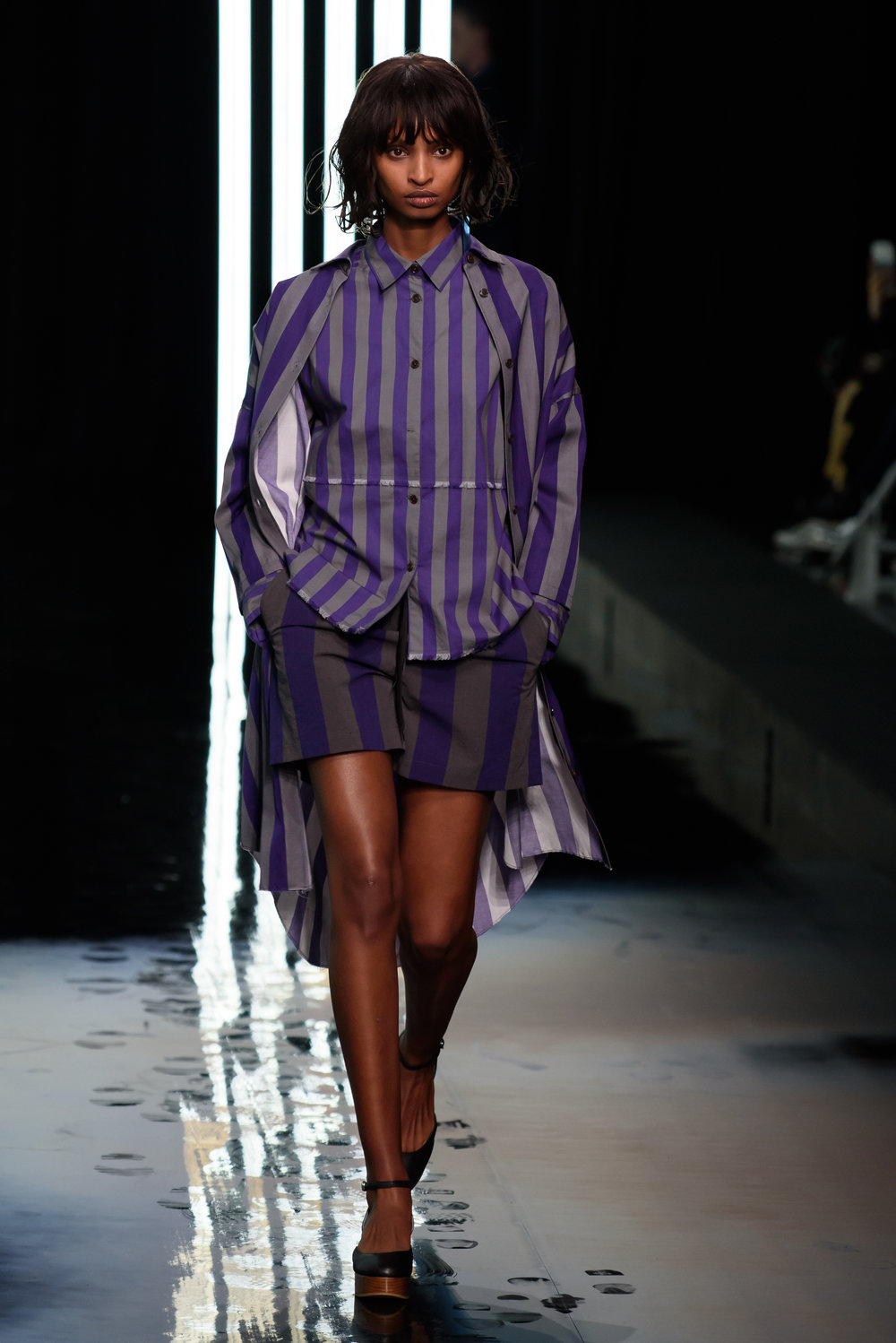 The sporting kind - It was not your father's blue oxford 'office' shirts that made their way down the shiny runway at the HARE Spring 2018 runway show, but for sure this sort of classic, conservative sportswear look was the initial inspiration for the deconstructed, thoroughly modern, pieces. Pinstripes and trench coats, khaki pants and button downs were all there, but all totally rehabbed and reformed. The overall effect was both inventive, and sophisticated in execution, and showed HARE to be a major force to watch in future seasons.