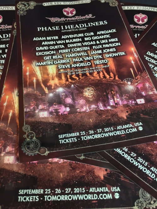 We have a limited number of TomorrowWorld 2015 Phase I Posters to giveaway, we will send 5 each to 5 winners!