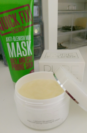 Quick Fix Facials clay mask and Pure Supplement Lemon Blueberry Rejuvenating Overnight Mask (my go to night cream)