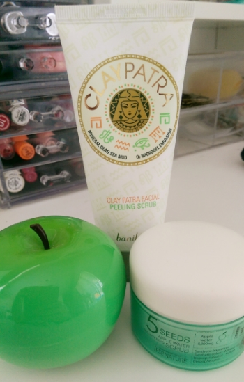 Left to Right = Gentlest to More Intense: Tony Moly Appletox, Banila Co Claypatra Facial, & 5 Seeds Apple Water Scrub.