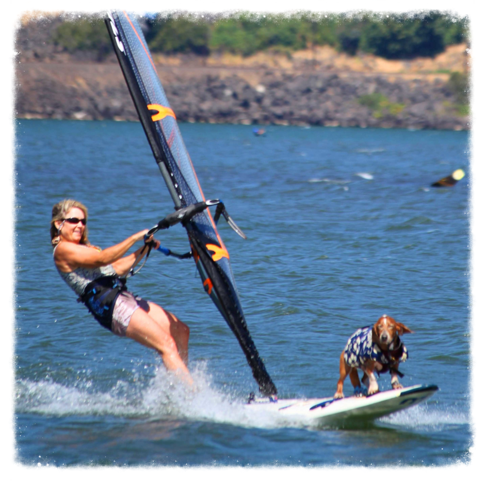 Dude the blind surf pirate windsurfing the Columbia River in Hood River, OR