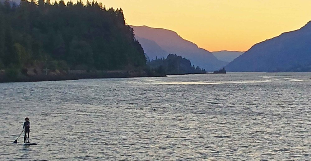 Dog paddling into the Gorge sunset. Thank God, it's just another ho-hum day in paradise.