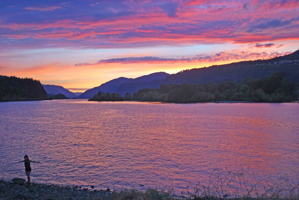 Even though I'm a dog - we're not great at detecting colors - even I can get stoked about a Gorge sunset. What's not to love?    Photo copyright Barb Ayers DogDiary.org
