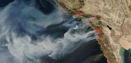 October 2007 - Witch Creek and hundreds of thousands of acress of wildfires caused the largest evacuation in San Diego history - right as we were moving to Oregon. NASA photo