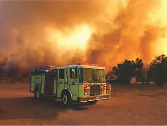 The Cedar Fire in San Diego - one of 14 fires in 2003 - was the largest wildfire in CA history.  Photo: San Diego Wildfires Education Project