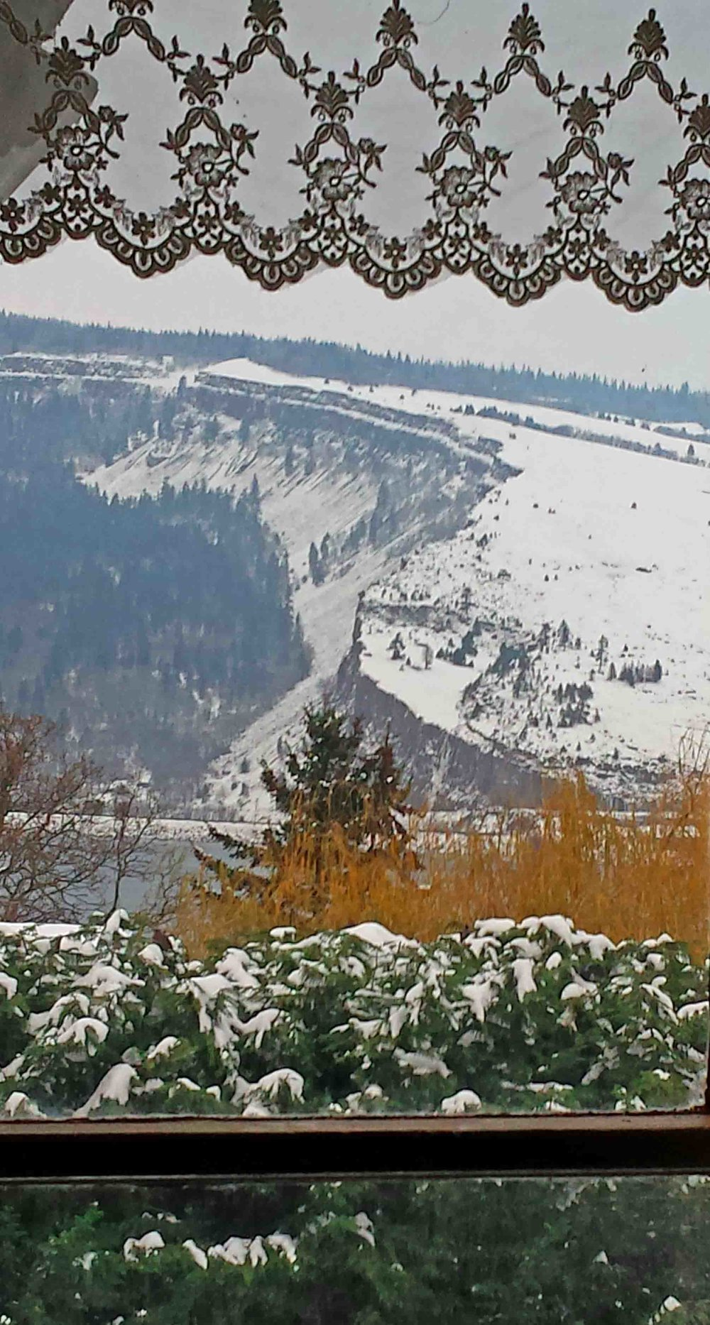 Coyote Wall Syncline towers above the Columbia River.   Photo: (c) Barb Ayers, DogDiary.org