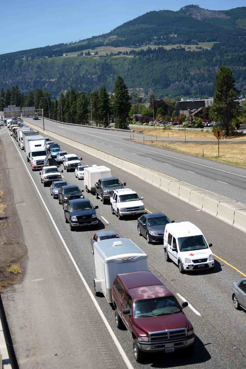 June 3, 2016 - the freeway closed after the derailment and it took six hours to get from Hood River to Mosier, a six minute commute.         Photo: Patrick Mulville, Hood River News
