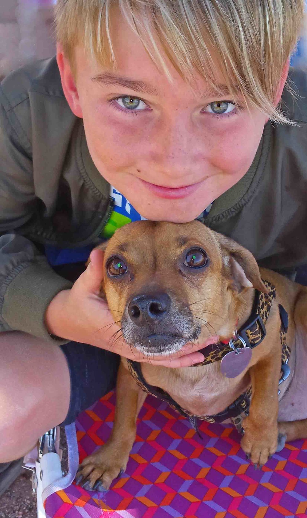 Dogs n kids go together like sunrise and river. Pete's son Alex, and my son Doodle at Picacho.               Photo: (c) Barb Ayers, DogDiary.org