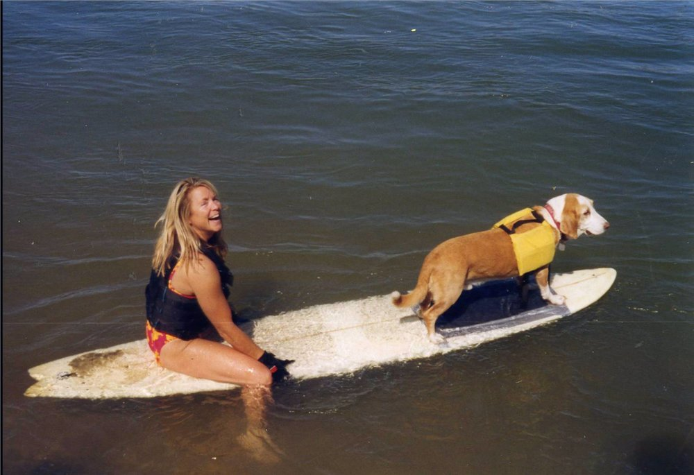 My first dog kid, Howdy, in the 1990's at the river.   Photo: (c) Barb Ayers, DogDiary.org