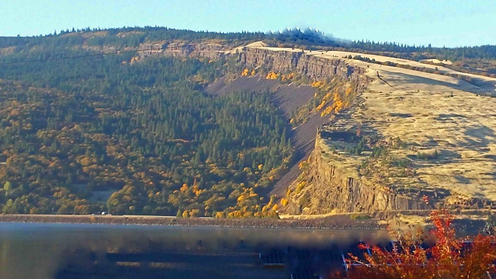 Our front yard friend - the Coyote Wall Syncline in fall.    Photo: (c) Barb Ayers, DogDiary.org