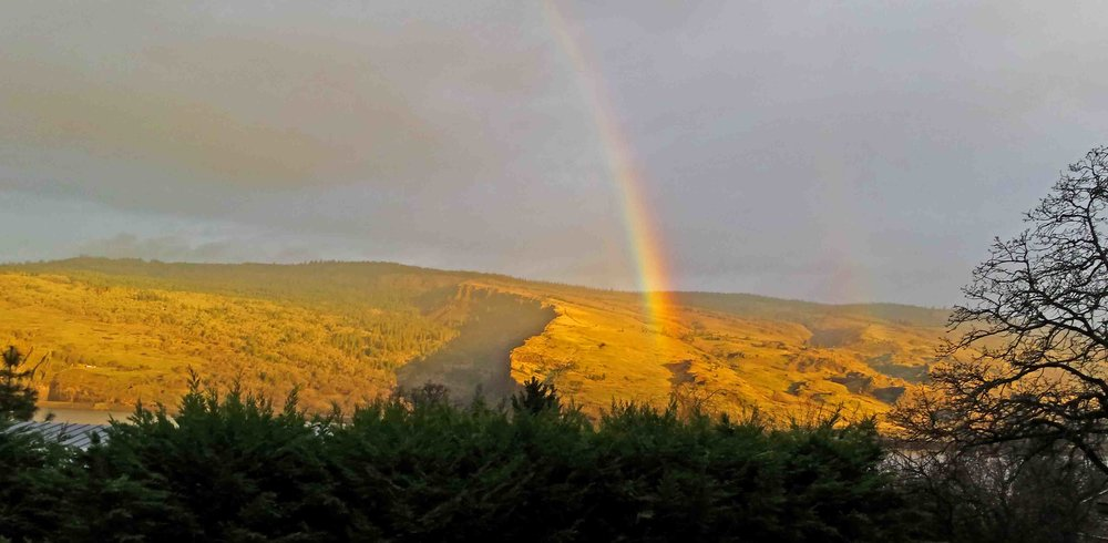 Syncline rainbow in our Mosier front yard.   Photo (c) Barb Ayers, DogDiary.org