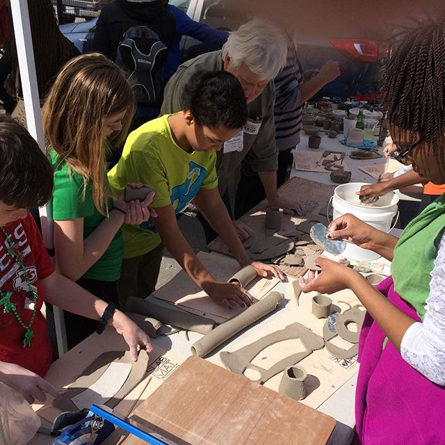 Handbuilding action with Hayne Bayless, @hannahniswongerclay and some budding young potters from Kansas City Boys & Girls Club at the POW! Truck this afternoon #nceca2016 #gopowtruck #handbuiltpottery at 2018 Baltimore Ave Kansas City, MO