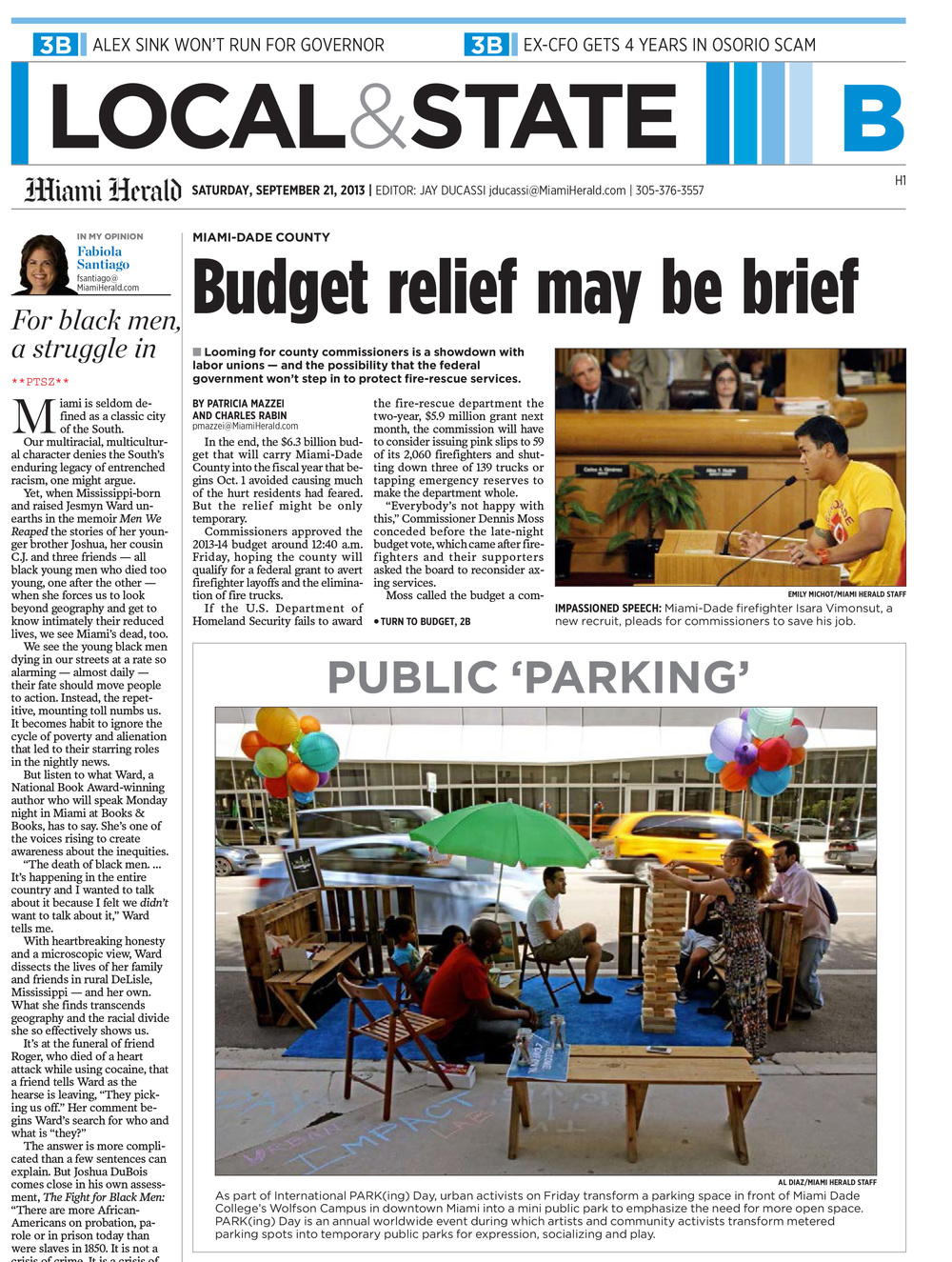 Media Coverage:  The Miami Herald covers Park(ing) Day 2013