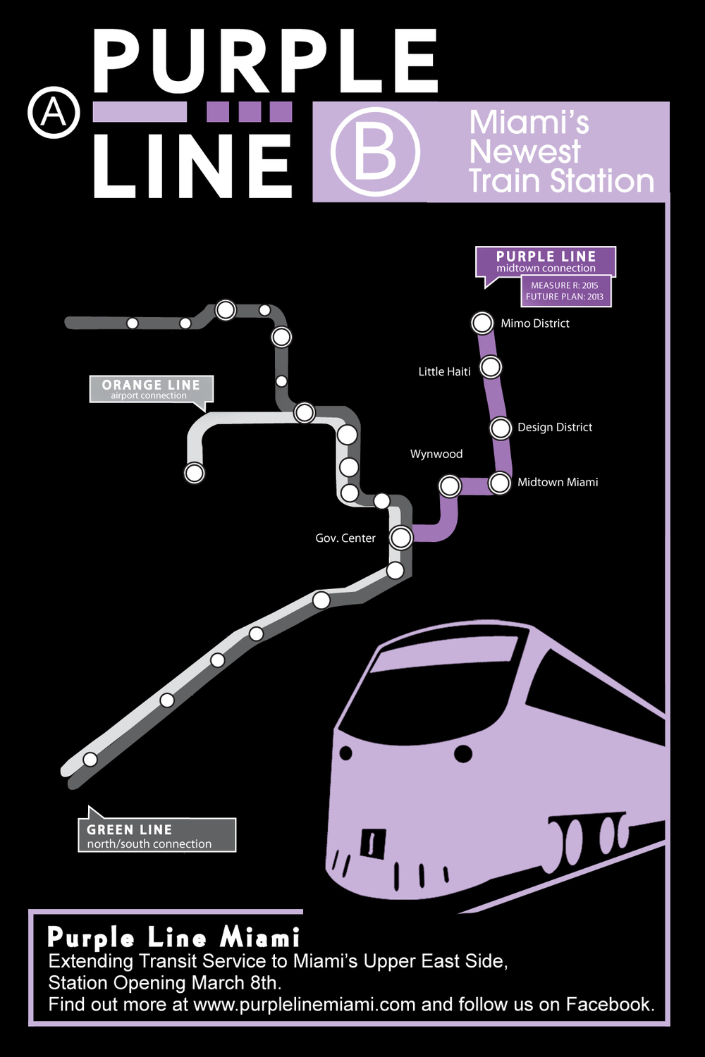 As part of the outreach, we created flyers that announced a new rail line in Miami.  Many believed it was an actual, new line that was opening.