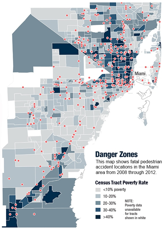 This map shows how pedestrian deaths and poverty correlate - Image courtesy GOVERNING