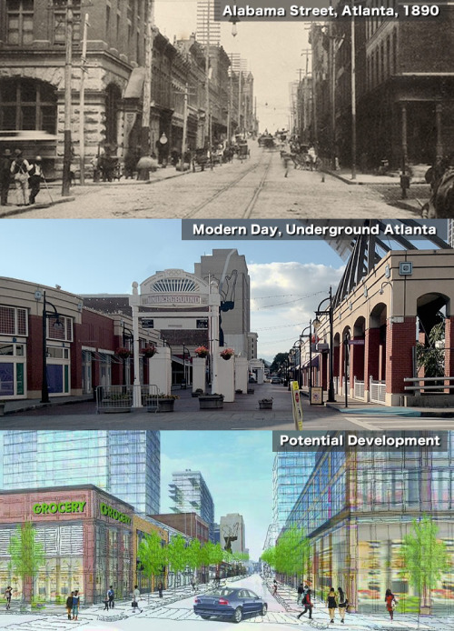 Photographs of past and present Alabama Street, and a rendering of future possibilities - Image Courtesy ATL Urbanist