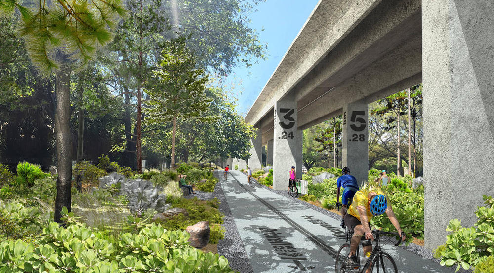 What that same area could be like for cyclists and pedestrians - Image Courtesy The Underline