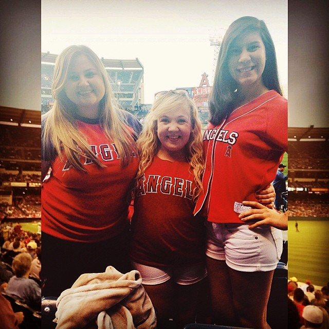 The only way to end a school year is by going to a Major League baseball game with my LA girls! I became an angel for one night only.  #redsoxgirl || Angels vs Indians, April 28th, 2014