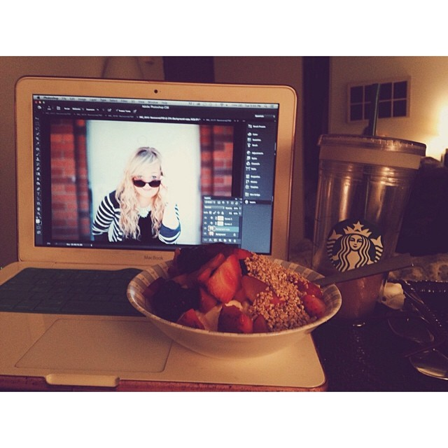 Editing photos of myself feels weird but wanted some new shots for my site. Late night workflow in bed and armed with iced coffee, berries, granola and yogurt. And playing is Hillsong United's Zion. Life is good. || May 13th, 2014