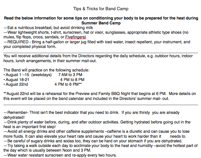 Band Camp Tips/Info