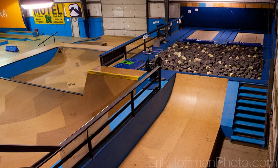 Trampolines, foampit and Skatepark at Windells BOB training facility.