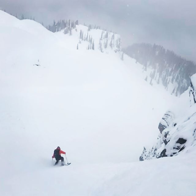 Well when the vis is terrible and it's super duper windy you may as well go ski elbow deep couloirs...🤪 thanks @meghankellyteles and friends for another fun day @revelstoke! 💪🏻 • • • • #lifewelllived #therealstoke #explorebc #skiing #ski #backcountry #powder #snow #winter #adventure #mountains #couloirs #chutes #fun #hitcase
