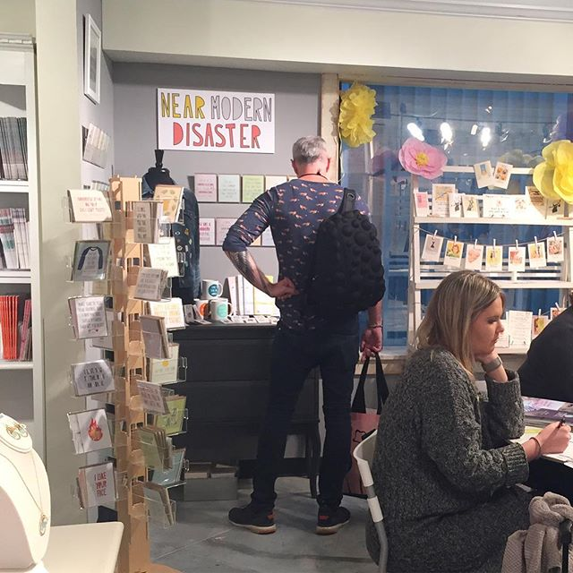 Last day of the #atlmkt at @americasmartatl ! You can find all things #nearmoderndisaster in the (back left corner of the)  @whitegingeratl showroom (building 2, suite 811) until 6 pm today. You can find ME back in Florida starting to fulfill orders from the first 7 days of this beast of a trade show. Thanks to everyone who stopped by to chat, grab a catalog, or place an order! It's always fun to see our retailers IN THE FLESH (and realize most of you are as ridiculous as I am.) xoxo yr new bff sam.