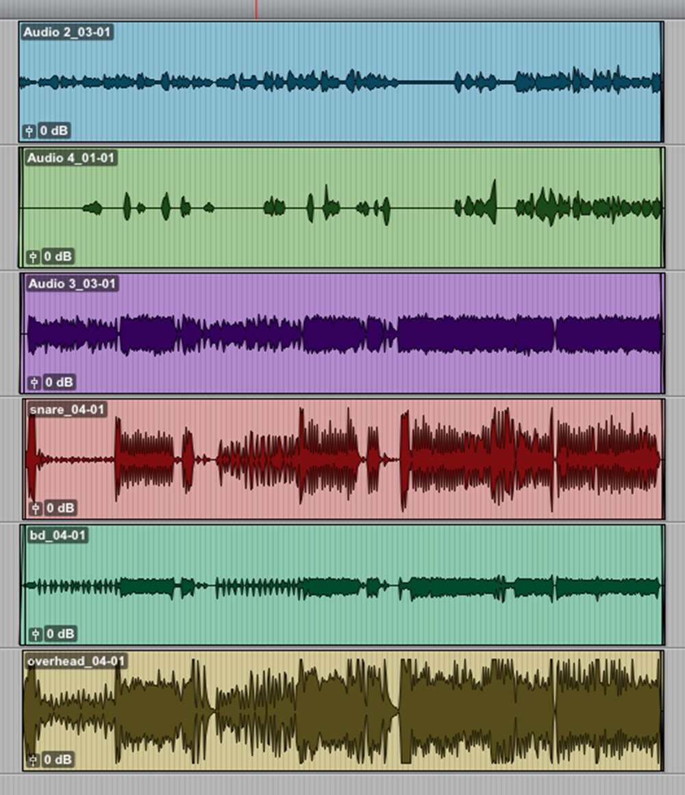 See? No editing necessary! Vocals 1 and 2, guitar, and three drum mics