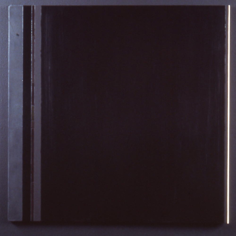 "Steel-Lined History, 1988, oil, flashe, black gesso on panel, 28""x28 5/8"""