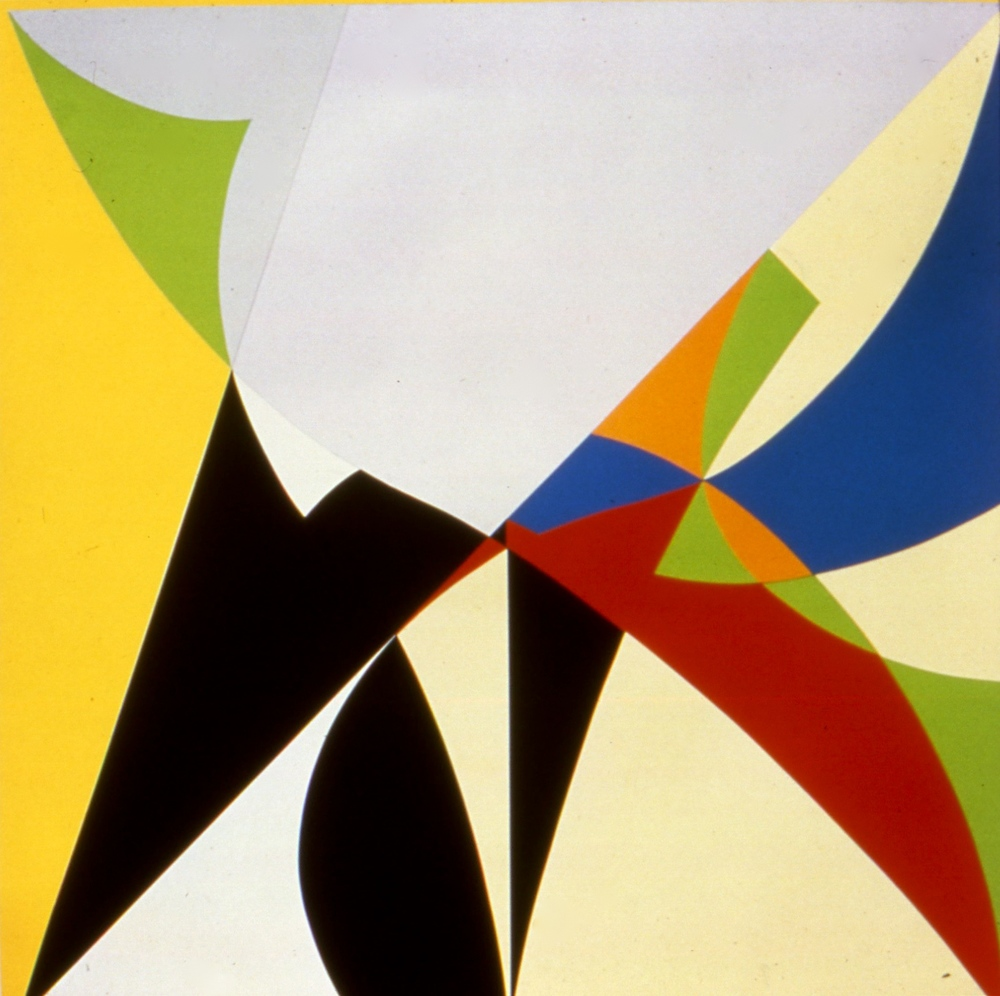 "Yellow, Grey, Blue, Black, Red, White, 1985, silkscreen & pencil, arches 88 paper, 50""x51 1/2"""