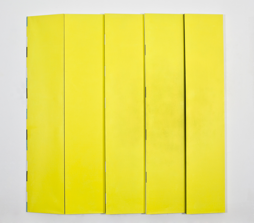"(multi paneled) Blue and Wavy start or edge or limit, 1991, oil on linen, 95""x95""x4"""
