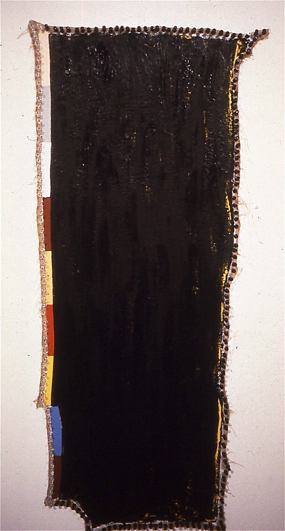 "Snake, 1992, oil on linen with pushpins, 49""x18"""