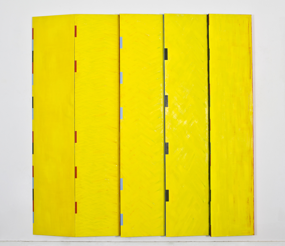 "(multi paneled) Simple Progression, 1991, oil on linen, 95""x""95""x4"""