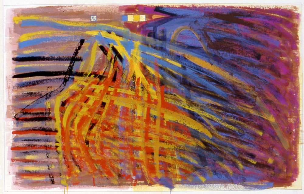 "Untitled. 1997, gouache on paper, 17 1/2""x28 1/2"""