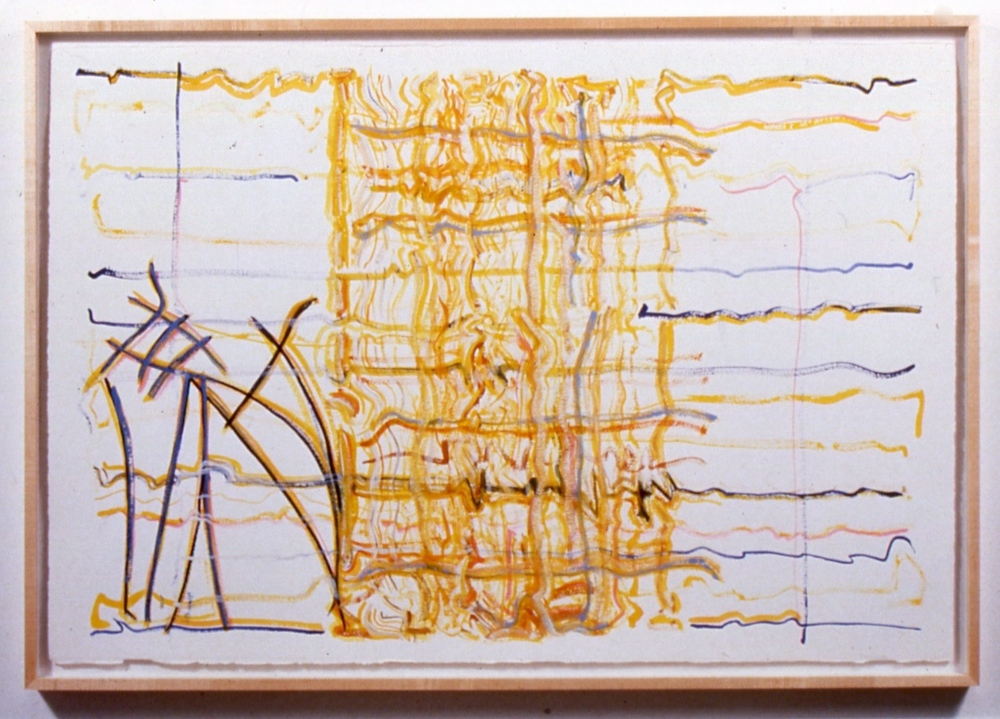 "Seriousness, 1998, gouache and watercolour on paper, 44""x63"" (framed)"