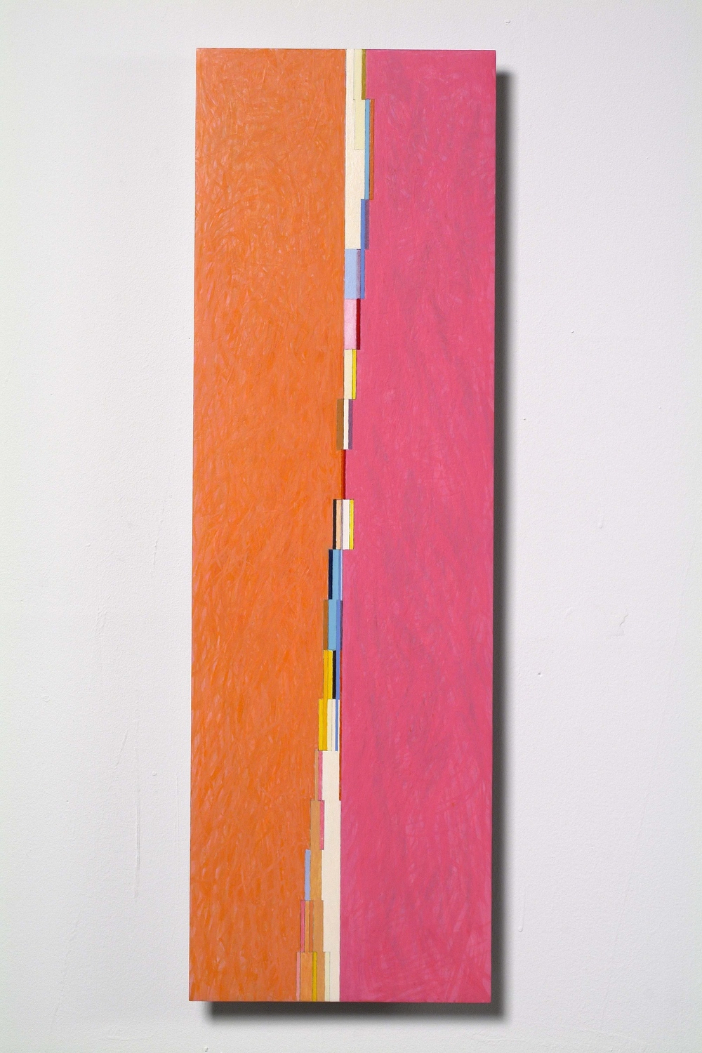 "Belgrade/Miami, 2006, oil on aluminum panel, 28 1/2""x9""x1/4"""