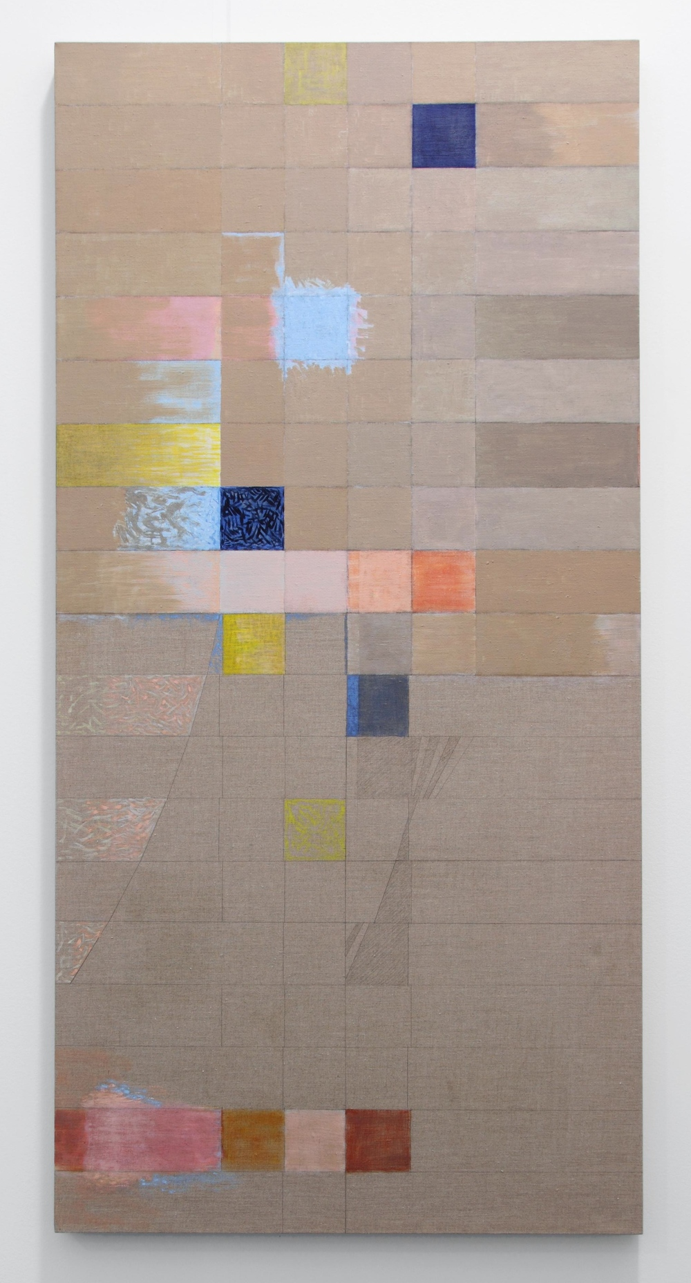 "From Brown to Grey, 2012 oil on linen, 66 1/2x29 3/4"" (Collection: Dean Colson and Aileen Ugalde, Miami)"