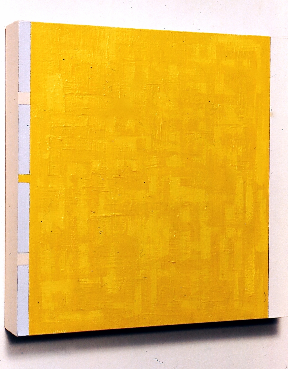 "Layered, 1991, oil on linen, 19""x19""x2 1/2"""