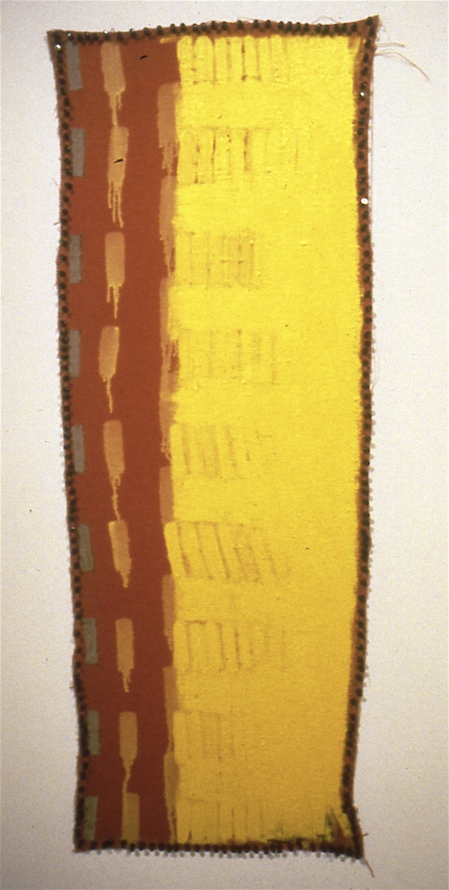 "Addition, Origin, 1992-93, oil on linen with pushpins, 51 1/2""x 18 1/2"""