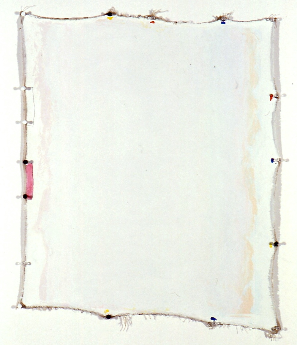 "Blank Blanc, 1994, oil on canvas with push pins, 29""x23 1/2"""