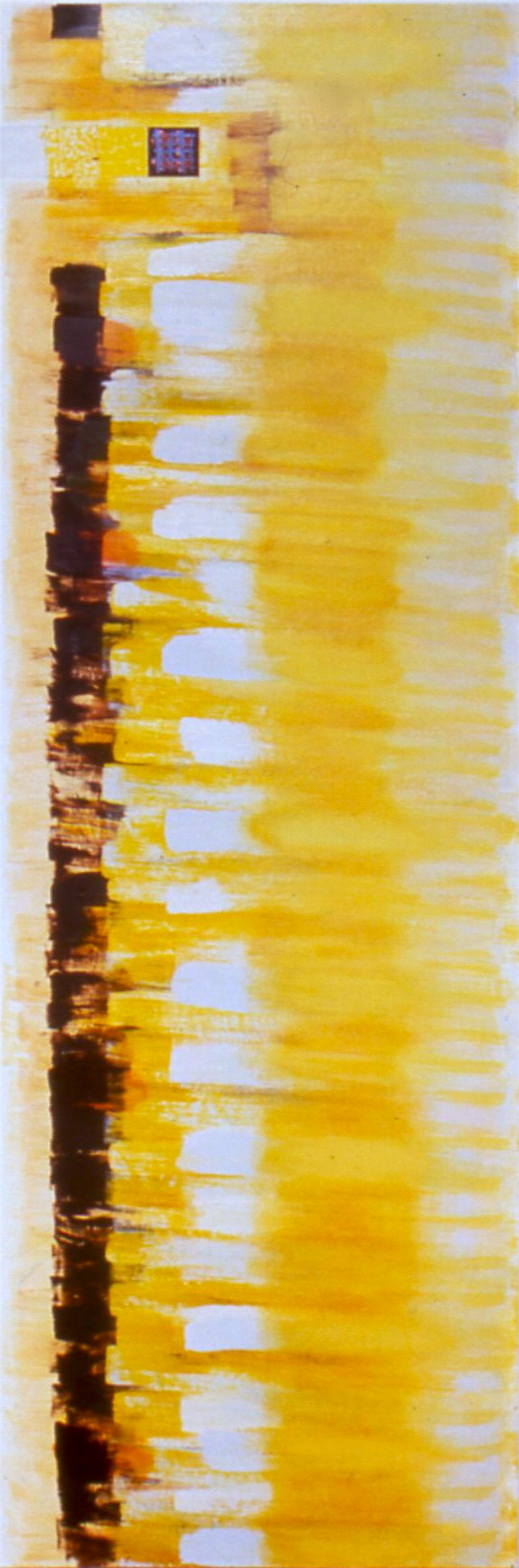 "More Than One Thing, 1998, oil on linen, 70 1/2""x23""x2"""