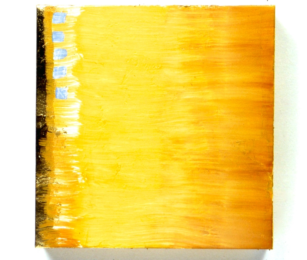 "Untitled, 1999, oil on canvas with gold leaf, 10""x10""x1 1/2"""