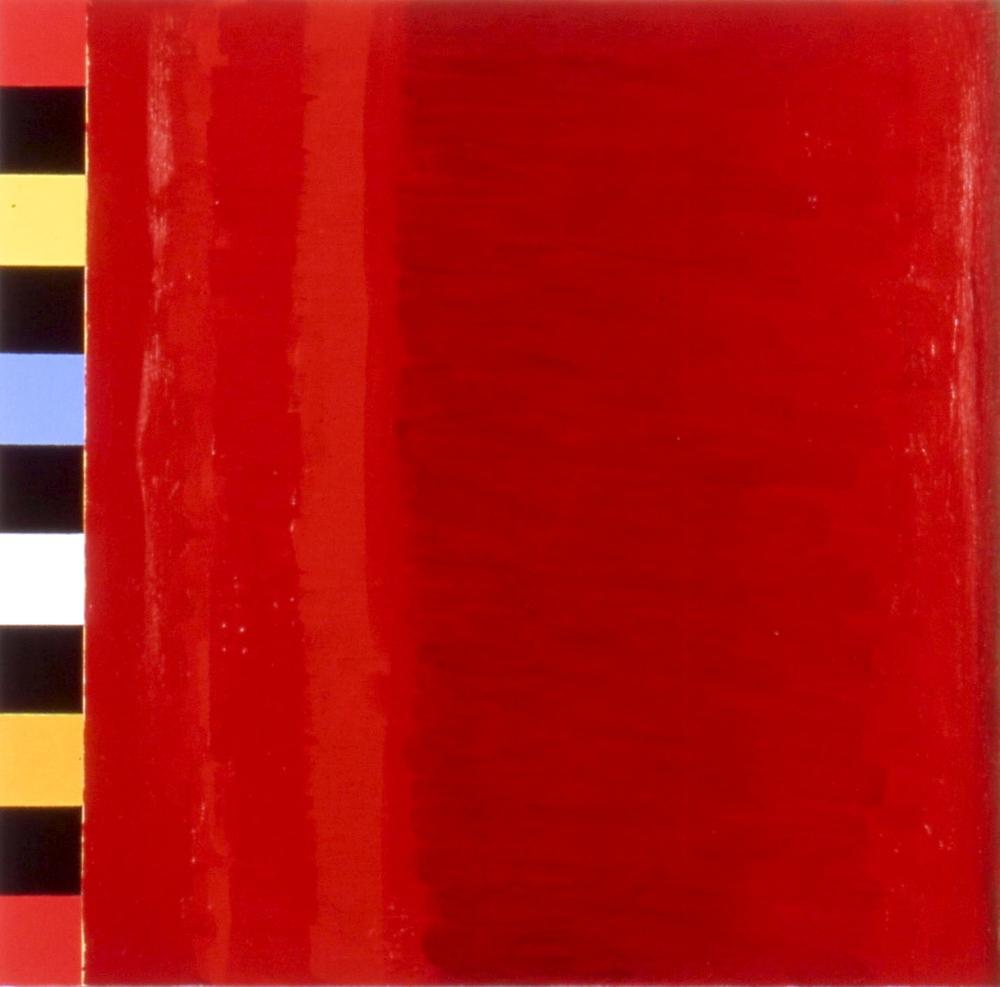 "Begin, Begin Again, 1990, oil & vinyl on linen, 36 1/2""x 36 1/2""x 1  3/4"""