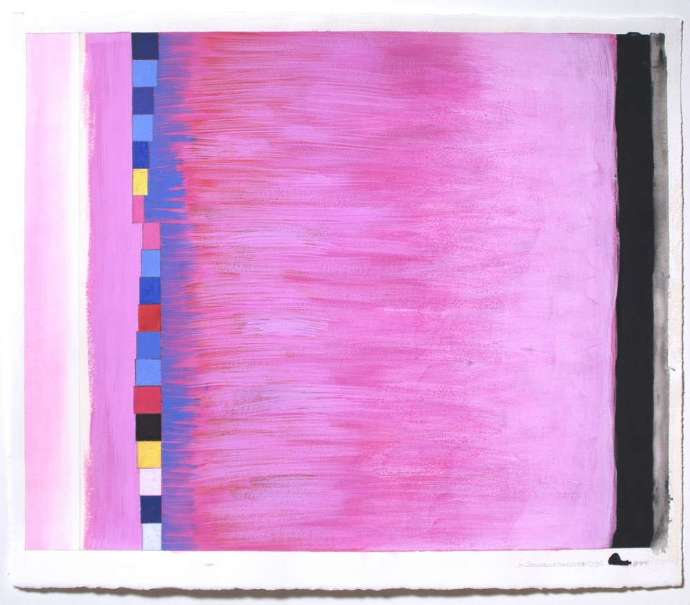 "Blue and Pink Thanks to OAB (PG36), 2003, gouache on paper, 20 3/16""x25 1/8"" (image), 22""x26 5/16""(paper)"