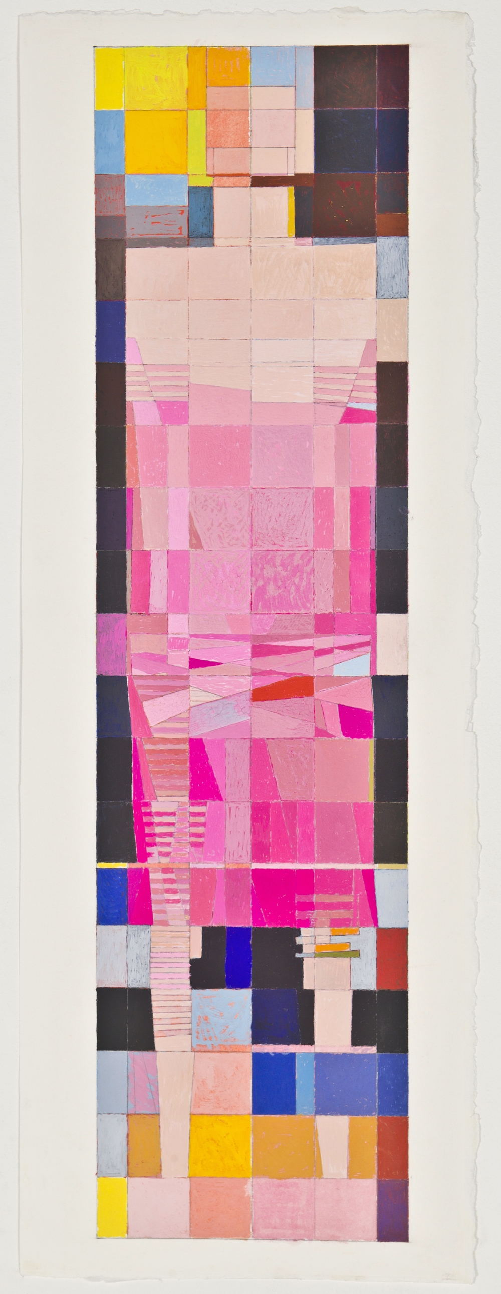 "Dress, 2012, gouache on paper, 28 1/2""x7 3/8"""