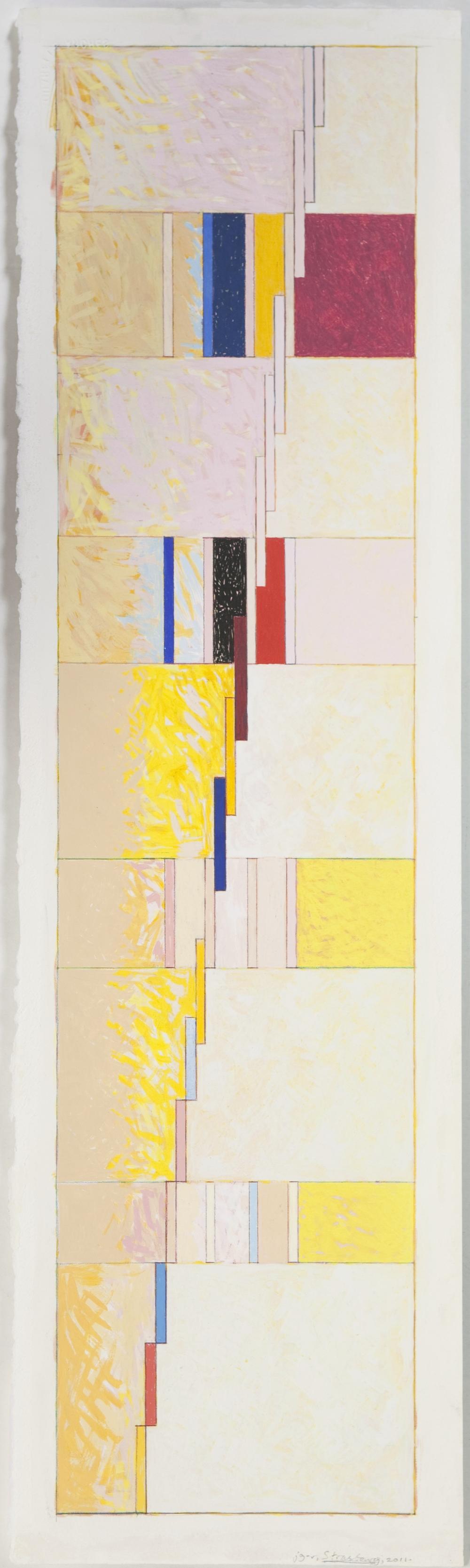 "Strasbourg, 2011, gouache on paper, 28 1/2""x7 1/4"""
