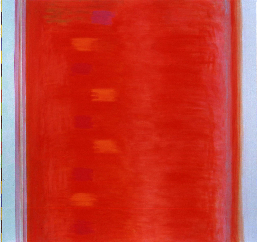 "Studio Red, 2004, oil on linen, 66 1/2""x70""x2"""