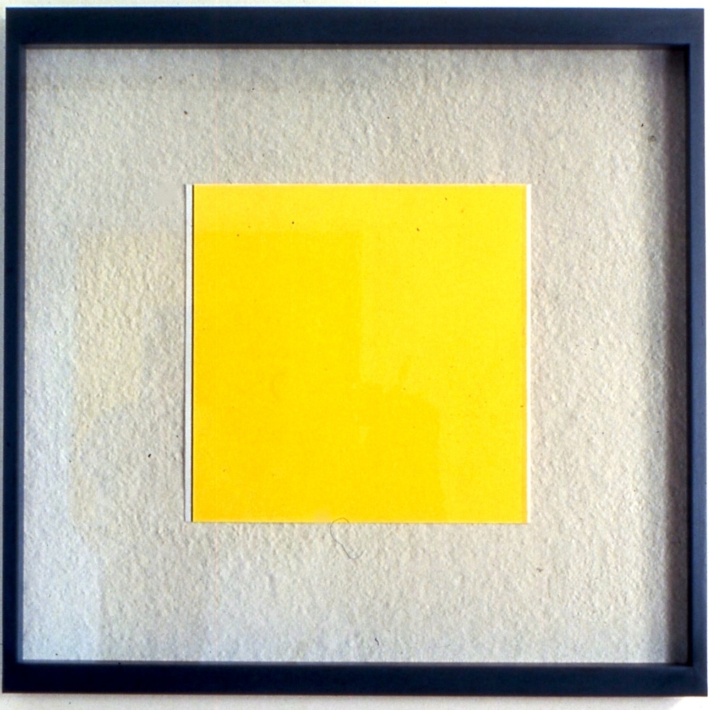"Leftward Seduction, 1988, Gouache and photo frame, 38""x38"""